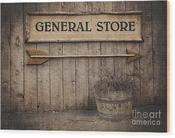 Vintage Sign General Store Wood Print by Jane Rix