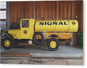 Vintage Signal Gasoline Truck . 7d12935 Wood Print by Wingsdomain Art and Photography
