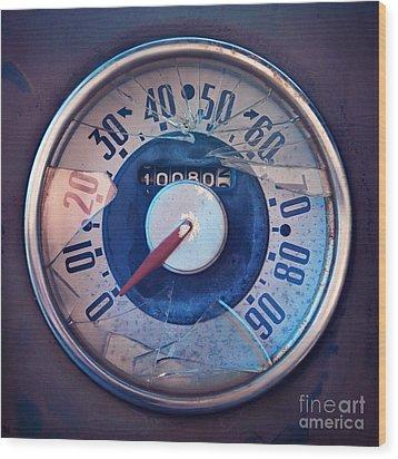 Vintage Speed Indicator  Wood Print by Priska Wettstein