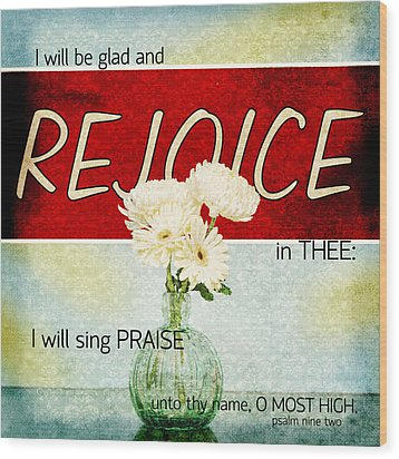 Vintage Tin - Rejoice Wood Print