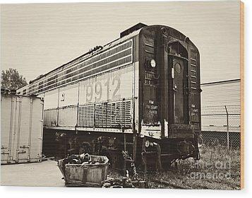 Vintage Train Boxcar Wood Print by Cheryl Davis