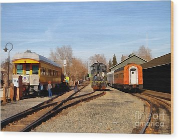 Vintage Trains At The Old Sacramento Train Depot . 7d11513 Wood Print by Wingsdomain Art and Photography