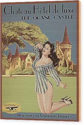 Vintage Travel Poster The Grand Castle Wood Print by Cinema Photography