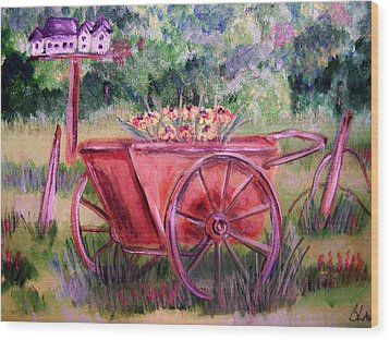 Vintage Wheel Barrow Wood Print by Belinda Lawson