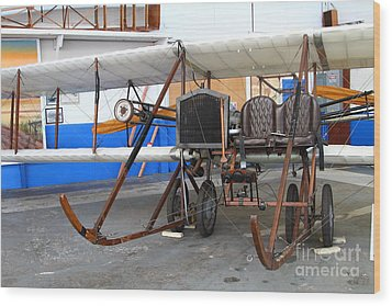 Vintage Wright Brothers Type Airplane . 7d11147 Wood Print by Wingsdomain Art and Photography