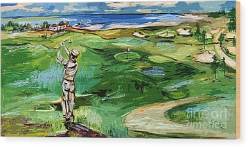 Vintge Golfer By The Sea Wood Print by Ginette Callaway
