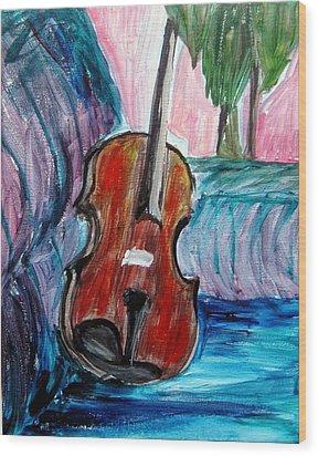 Wood Print featuring the painting Violin by Amanda Dinan