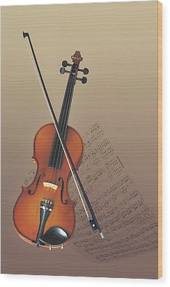 Violin Wood Print by Comstock