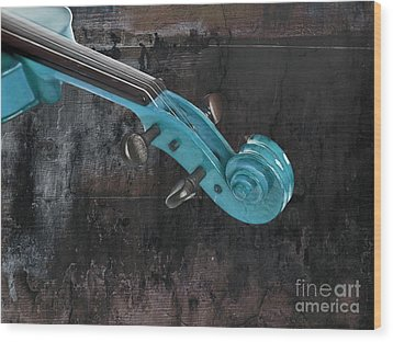 Violinelle - Turquoise 05a2 Wood Print by Variance Collections