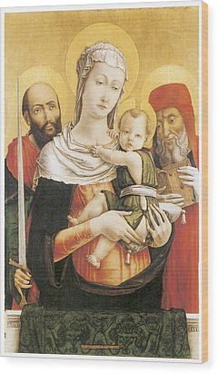 Virgin And Child With Saints Paul And Jerome Wood Print by Bartolomeo Vivarini