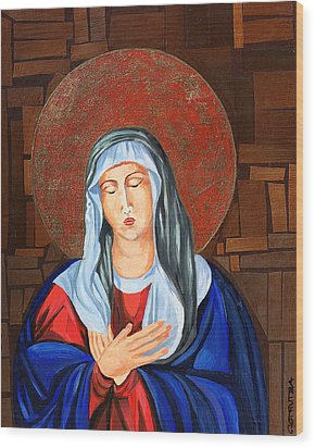 Virgin Mary Wood Print by Claudia French