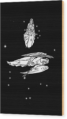 Virgo And Coma Constellations, Artwork Wood Print by