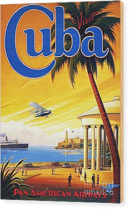 Visit Cuba Wood Print by Reproduction