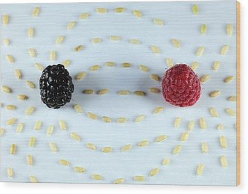 Vitalberry And Raspberry Depicting Magnetic Field Line Wood Print by Paul Ge