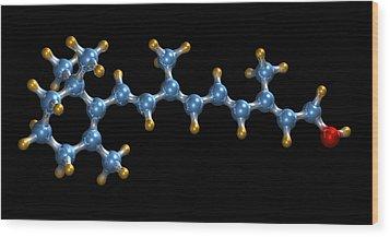 Vitamin A (retinol) Molecule Wood Print by Dr Mark J. Winter
