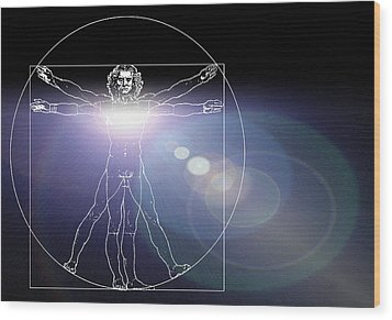 Vitruvian Man With Flare In Chest Wood Print by Laguna Design