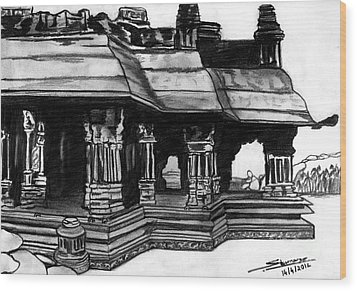 Vittala Temple Hampi Wood Print by Shashi Kumar