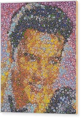 Viva Las Vegas Elvis Poker Chip Mosaic Wood Print by Paul Van Scott