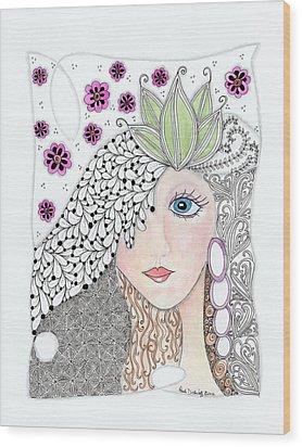 Vivian Wood Print by Paula Dickerhoff