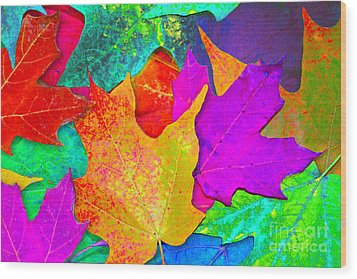 Vivid Leaves 1 Wood Print by Ginny Gaura