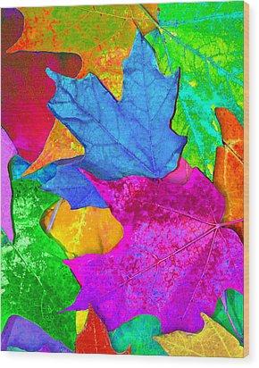 Vivid Leaves 2 Wood Print by Ginny Gaura