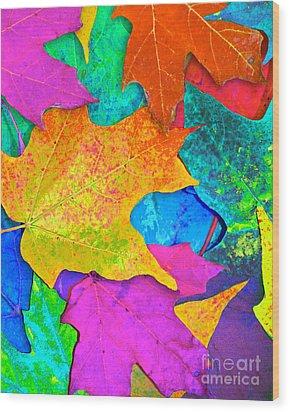 Vivid Leaves 3 Wood Print by Ginny Gaura