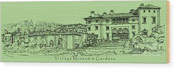 Vizcaya Museum In Olive Green Wood Print by Adendorff Design