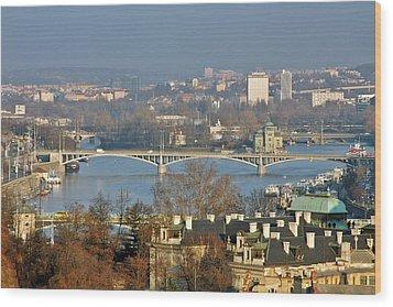 Vltava River In Prague - Tricky Laziness Wood Print by Christine Till