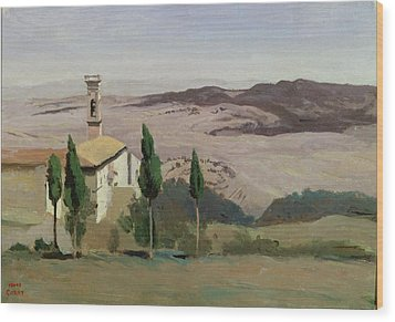 Volterra Wood Print by Jean Baptiste Camille Corot