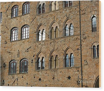 Wood Print featuring the photograph Volterra Wall Of Windows by Jeanne  Woods