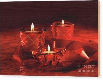 Votive Candles On Dark Red Background Wood Print by Sandra Cunningham