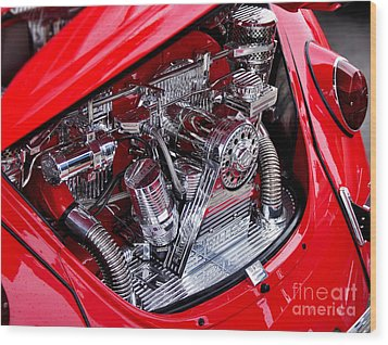 Vw Beetle With Chrome Engine Wood Print by Kaye Menner