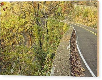 W Road In Autumn Wood Print