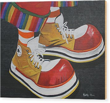 Waffle's Shoes Wood Print by Betty-Anne McDonald