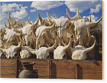 Wagon Full Of Animal Skulls Wood Print by Garry Gay