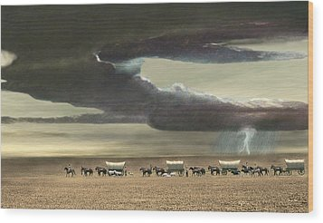 Wagon Train Wood Print by Walter Colvin