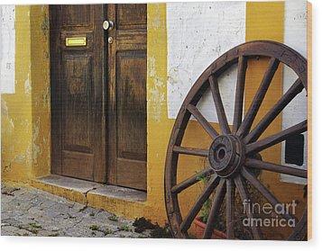 Wagon Wheel Wood Print by Carlos Caetano