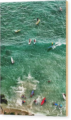 Wood Print featuring the photograph Waikiki Surfing by Jim Albritton