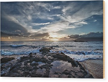 Wood Print featuring the photograph Wailea Sunset by John Maffei