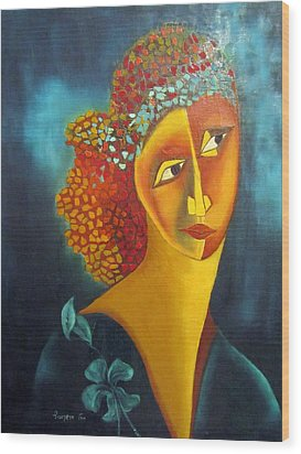 Waiting For Partner Orange Woman Blue Cubist Face Torso Tinted Hair Bold Eyes Neck Flower On Dress Wood Print by Rachel Hershkovitz