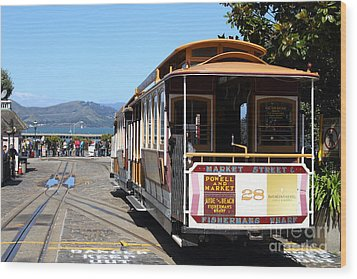 Waiting For The Cablecar At Fishermans Wharf . San Francisco California . 7d14099 Wood Print by Wingsdomain Art and Photography