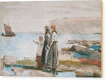 Waiting For The Return Of The Fishing Fleets Wood Print by Winslow Homer