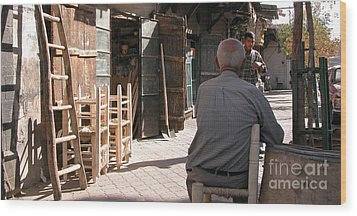Waiting In Damascus Wood Print by Issam Hajjar