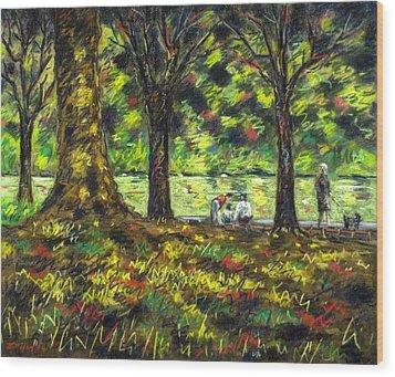Walk In The Park Wood Print by John  Nolan