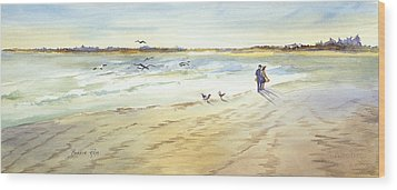 Walk On The Beach Wood Print