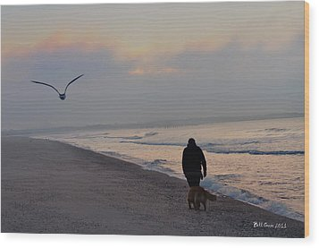 Walking On The Beach - Cape May Wood Print by Bill Cannon
