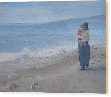 Walking On The Beach Wood Print by Angela Stout