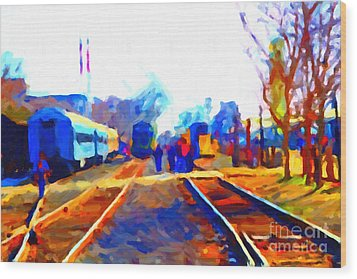 Walking On The Train Tracks In Old Sacramento California . Painterly . Vision 2 Wood Print by Wingsdomain Art and Photography
