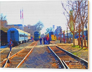 Walking On The Train Tracks In Old Sacramento California . Painterly Wood Print by Wingsdomain Art and Photography