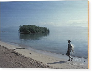 Wood Print featuring the photograph Walking The Beach At Dawn Barahona Dominican Republic by John  Mitchell
